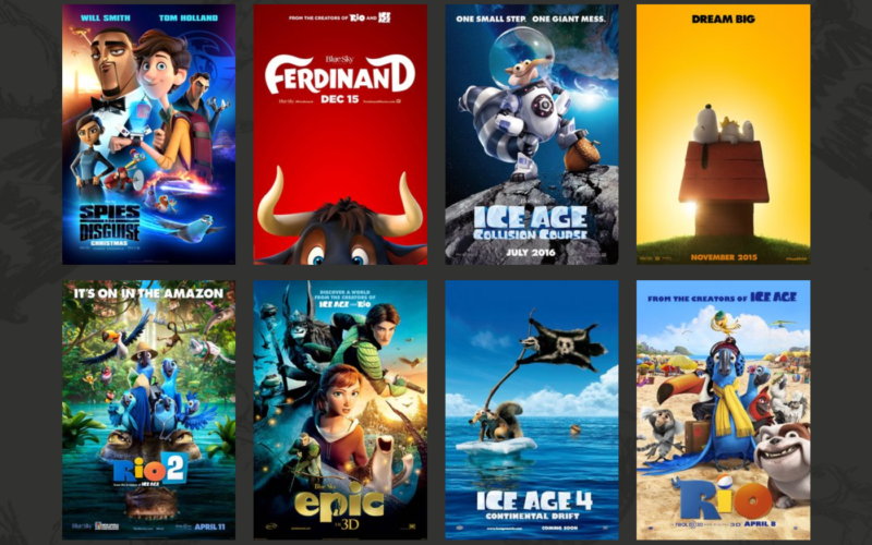 Two rows of posters for animated films.