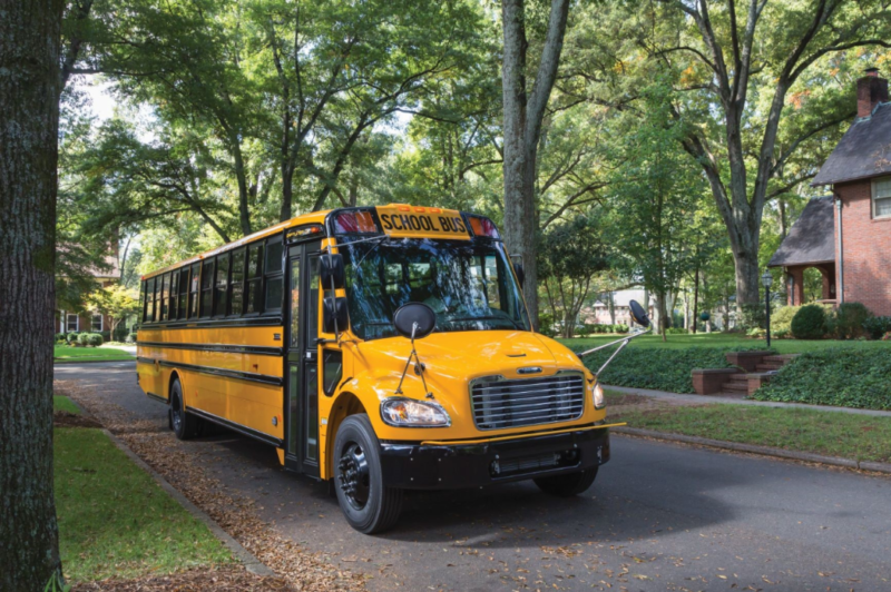 This is a Saf-T-Liner C2 Jouley school bus, built by Thomas Built Buses and equipped with an electric powertrain from Proterra.