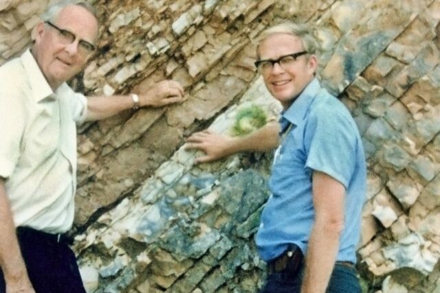 Luis Alvarez, left, and his son Walter, right, at the K-T Boundary in Gubbio, Italy, 1981.