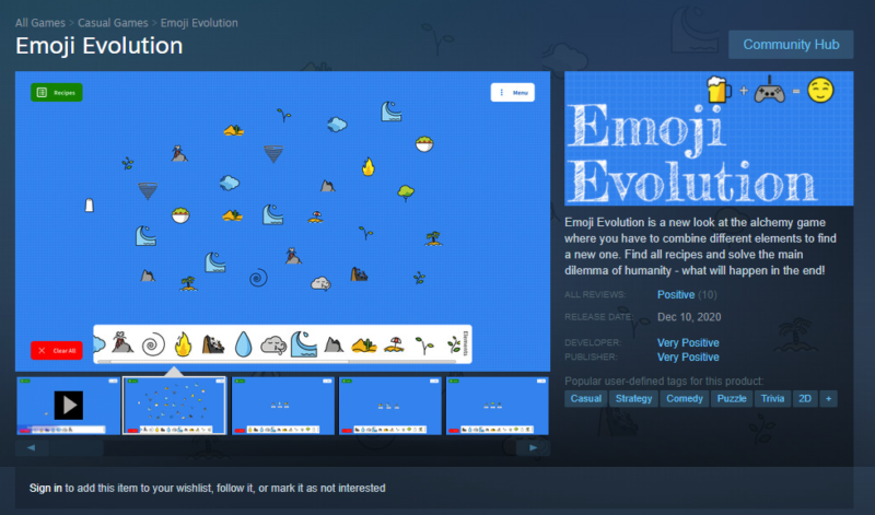 "An archived copy of <em>Emoji Evolution</em>'s Steam store page shows how hard it is to distinguish the developer's ""Very Positive"" name from the merely ""Positive"" review summary (on the right)."