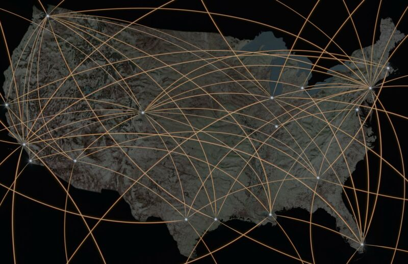 A United States map overlaid with crisscrossing lines to represent a broadband network.