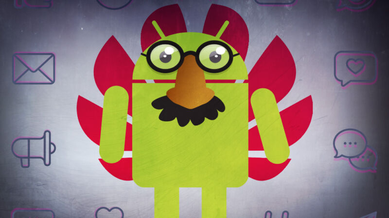 Android's robot mascot has tried to disguise himself with fake glasses and a mustache.