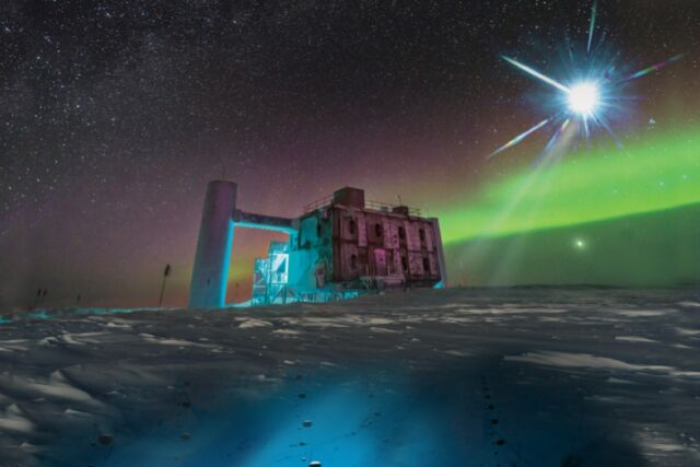Artistic rendering of the IceCube lab at the South Pole. A distant source emits neutrinos that are then detected below the ice by IceCube sensors.