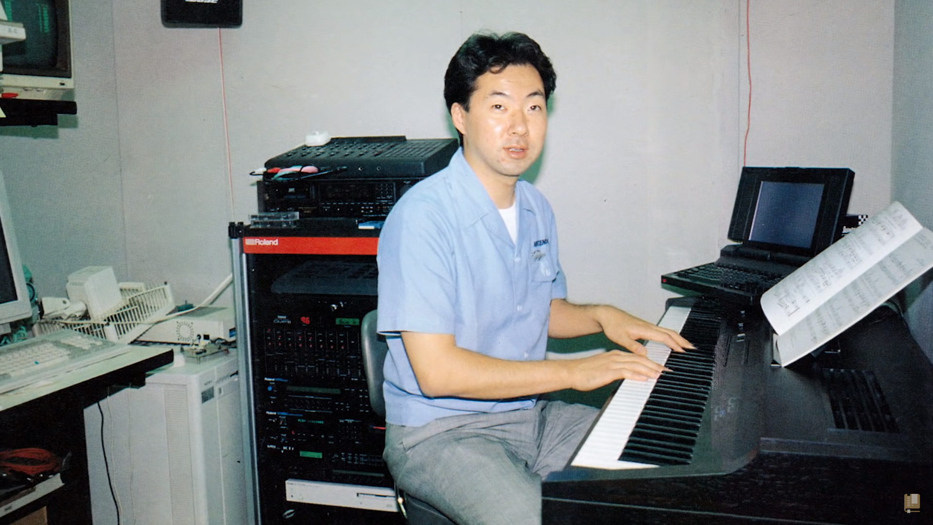 Photos like this one of Koji Kondo at work provide crucial clues to reconstructing the original samples behind old game music.