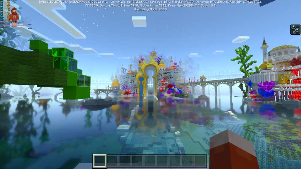 The latest build of <em>Minecraft</em> with ray tracing and DLSS upscaling to 4K enabled. This test ran at roughly 32fps; with the RTX 3060, you can enjoy similarly clean DLSS upscales to 1440p with ray tracing on and enjoy performance closer to 60fps.
