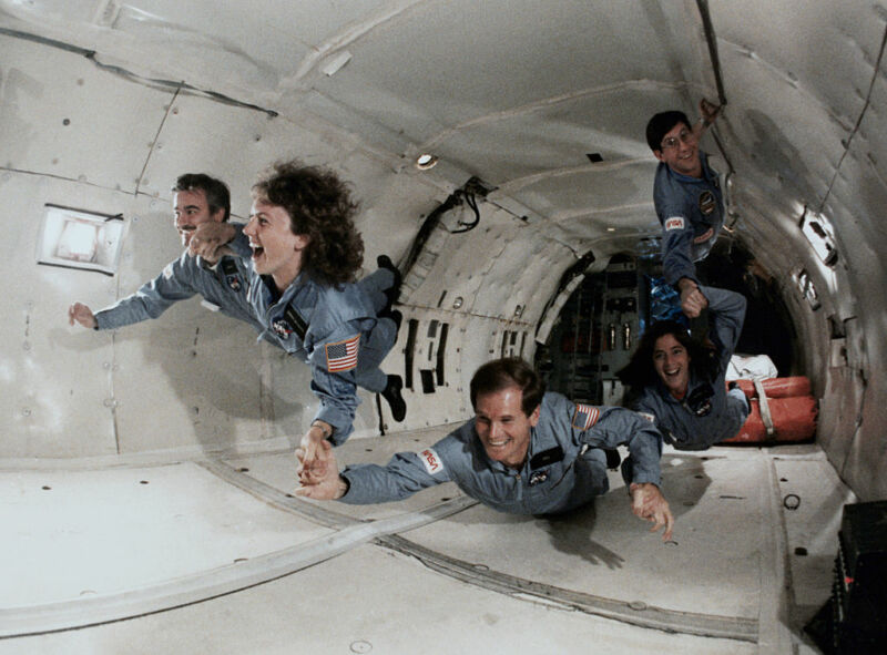 Then Rep. Bill Nelson (D-Fla., at bottom) undergoing zero-gravity training onboard a KC-135 along with other astronaut trainees in 1985. On his right is schoolteacher Christa McAuliffe, who died along with six other crew members in the <em>Challenger</em> disaster.