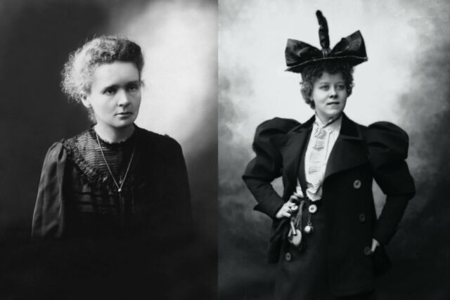 (left) Portrait of Marie Curie, circa 1890. (right) Formal portrait of LoïeFuller.