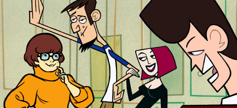 This artist's approximation imagines Velma from the <em>Scooby-Doo</em> series getting chummy with the <em>Clone High</em> cast. We doubt that such a crossover will happen, but animation nerds can dream, right?