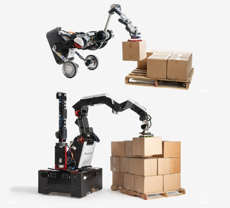 Boston Dynamics' first warehouse design was the bird-like Handle robot (top), and now it has evolved to the hulking Stretch robot (bottom). (Not to scale.)
