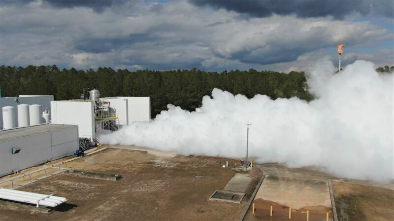 Relativity Space tests a development version of its Terran 1 second stage at Stennis Space Center.