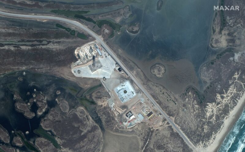 An orbital view of SpaceX's South Texas launch site, with SN10 on the pad, in early March.