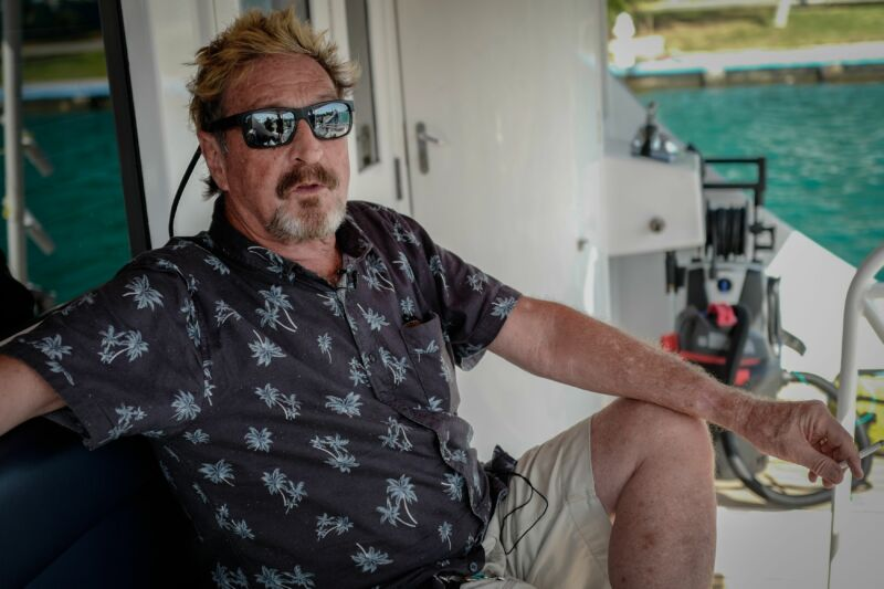 John McAfee on his yacht off the coast of Cuba in 2019.