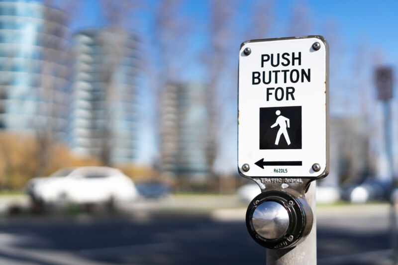 Push button, but watch out for SUVs. Particularly at night.