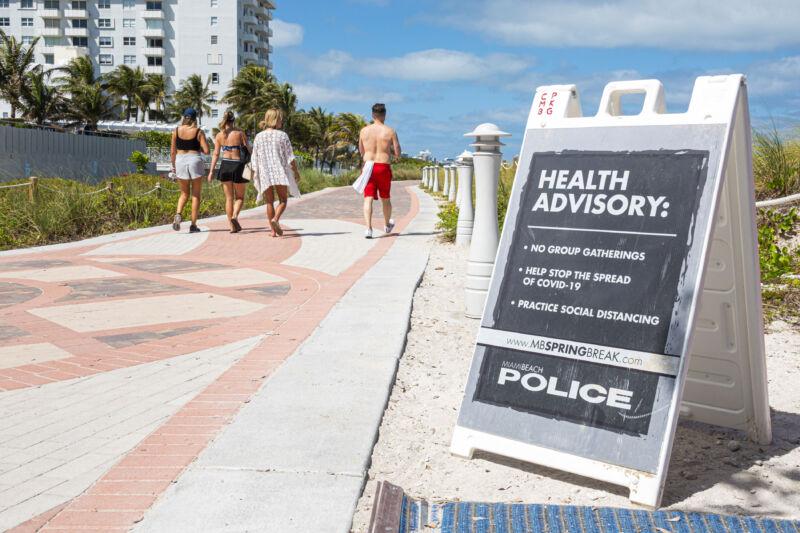 A health advisory sign on a beach in Florida.