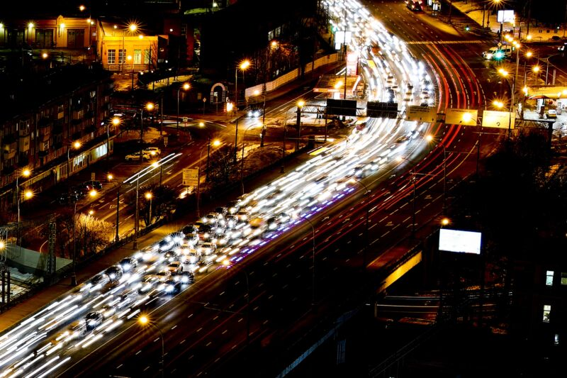 A traffic jam at night.