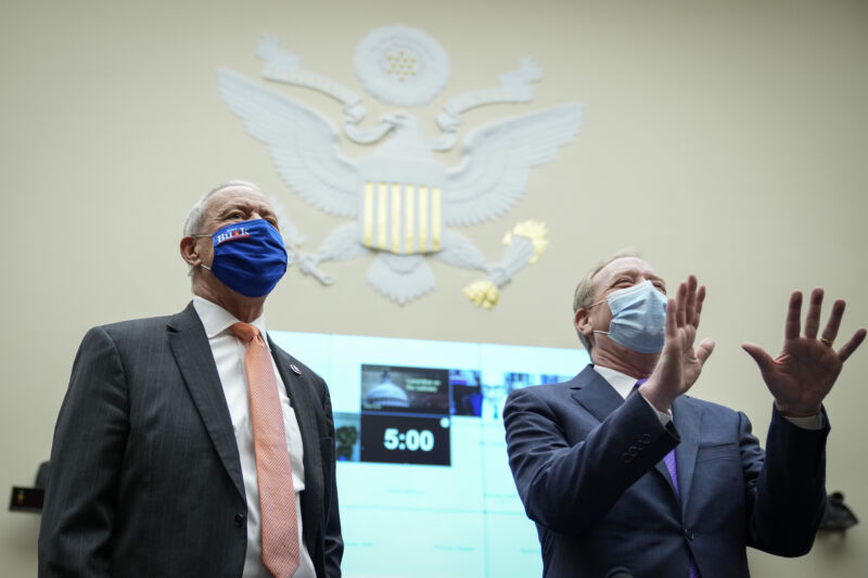 Rep. Ken Buck (R-Co.) and Microsoft president Brad Smith at a House hearing on regulation and competition in the news media industry on March 12, 2021.