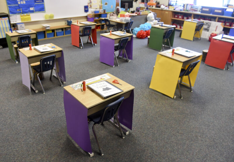 Spring Township, PA - August 21: A first grade classroom where the desks are spaced out for social distancing.