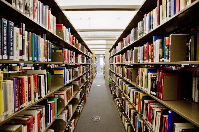 A pair of full bookshelves face each other.