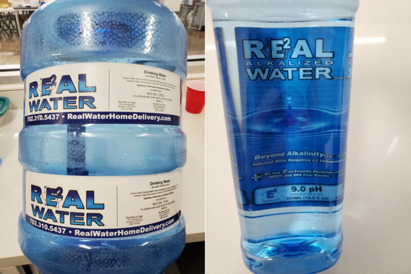 "Images of Real Water's ""alkalized"" products, which the FDA now says you should not drink or use."