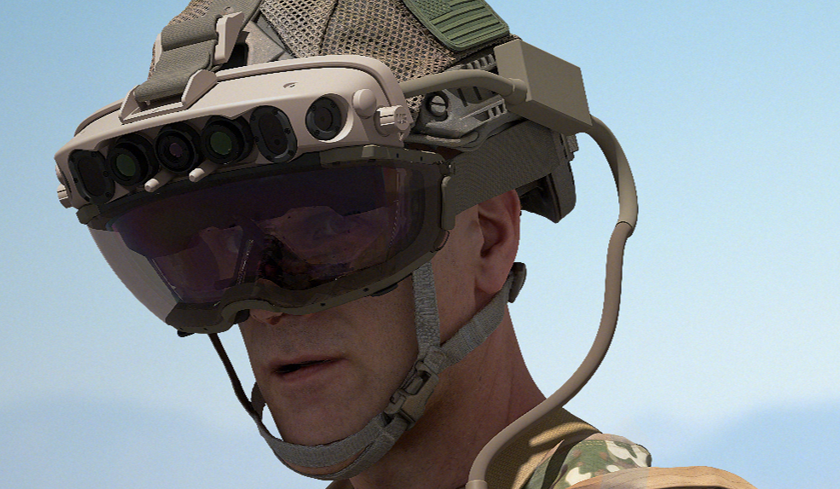 Official IVAS image as provided by Microsoft as part of Wednesday's announcements. Notice an array of sensors across the top, along with an apparent headset-strapping requirement for this model.