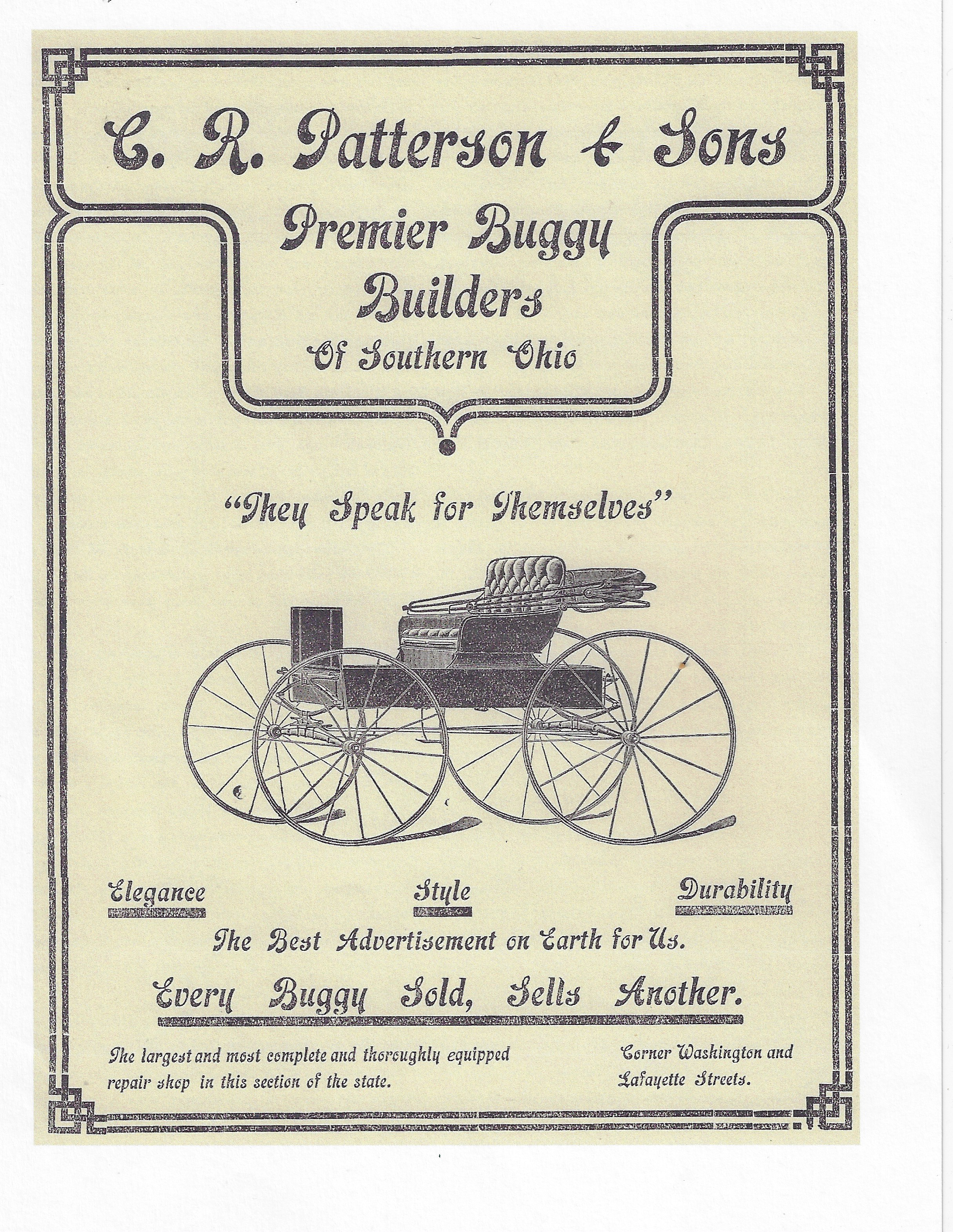 """An advertisement in The Greenfield Republican 1902 Holiday Edition. From the accompanying article: """"The news spread abroad 'that you get your money's worth at Patterson's.' Gradually the farmers got into the habit of coming into Patterson's and giving orders for buggies. They found them just as good as those made in the mammoth factories of Cincinnati, Columbus, and South Bend, and besides the prices were lower and there was no freight and charges bill to pay. As the years went by and business grew, larger quarters were found necessary, until now the factory and show rooms on Washington streets are models of convenience and spaciousness."""""""