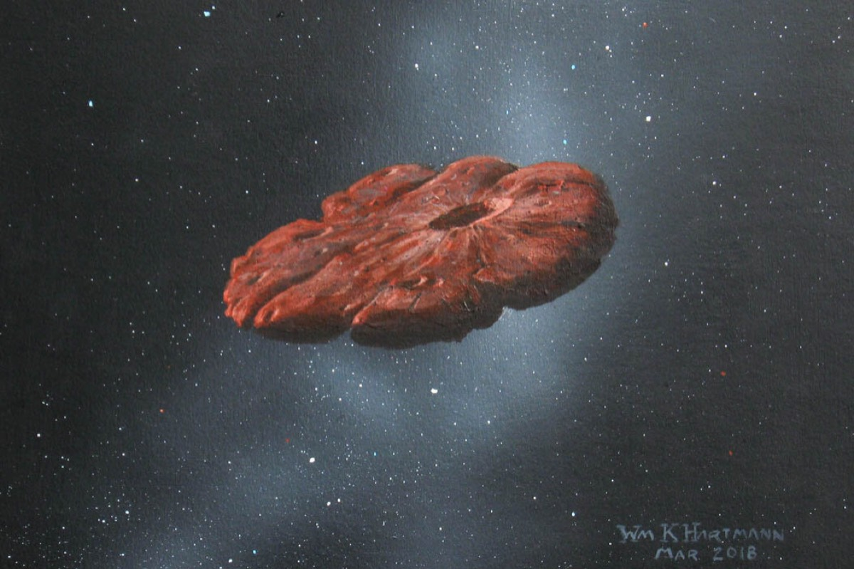 This painting by William K. Hartmann shows a concept of the 'Oumuamua object as a pancake-shaped disk.