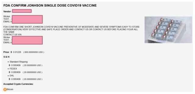 Dark web marketplaces are full of listings for COVID-19 vaccines, including this one touting doses of the Johnson & Johnson shot.