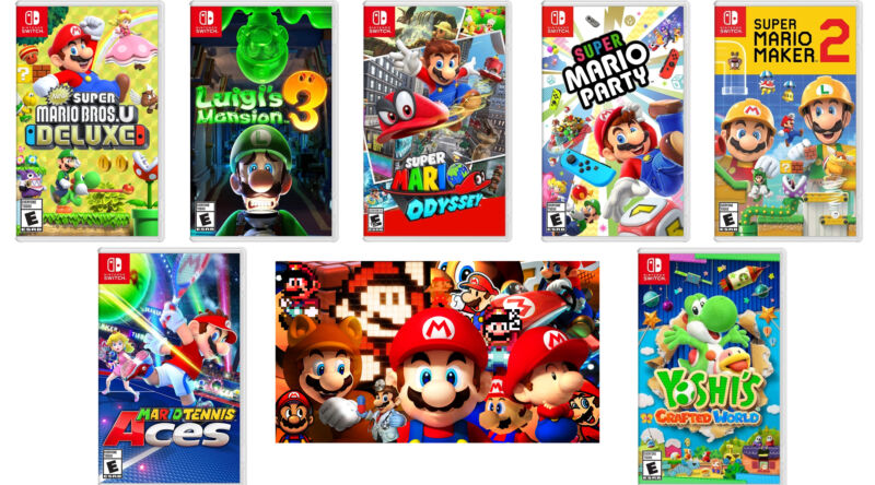 A collage of Super Mario promotional images against a white background.