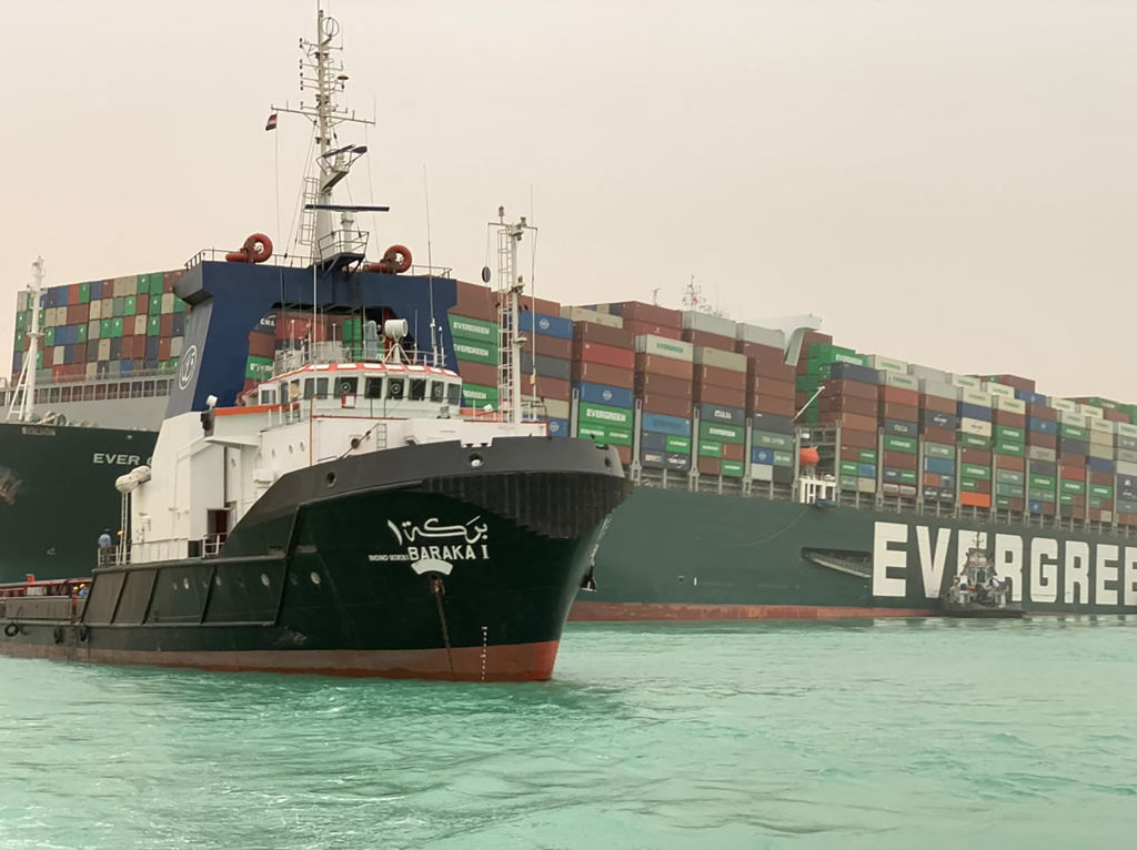 The Taiwan-owned MV Ever Given lodged sideways and impeding all traffic across the waterway of Egypt's Suez Canal.