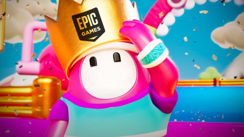 An adorable video game character wears a crown that reads Epic Games.