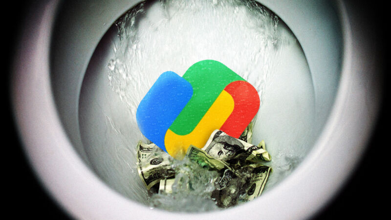 The Google Play logo is flushed down a toilet alongside many dollar bills.