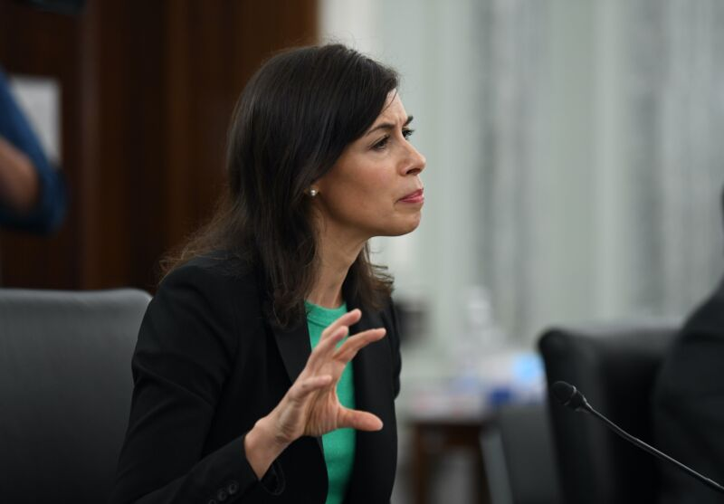 FCC member Jessica Rosenworcel sitting at a table and speaking during a Senate committee hearing.