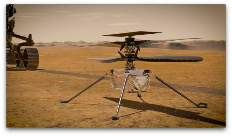 Artist's conception of a four-bladed drone on the Martian surface.