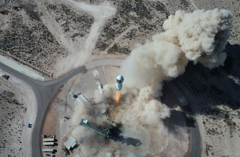 Aerial-view of a rocket launch.