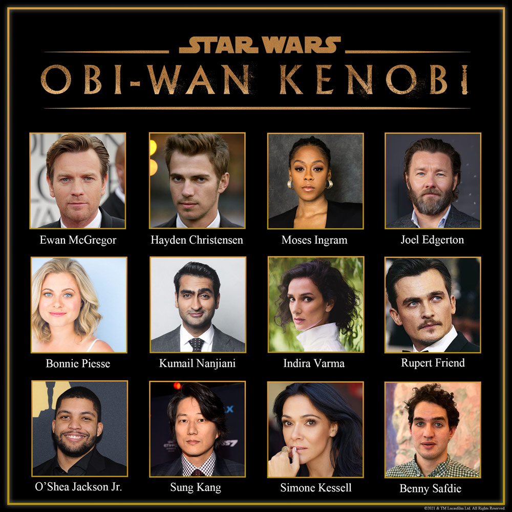Announced cast thus far for <em>Star Wars: Obi-Wan Kenobi</em>. No CGI announcements for other series characters just yet.
