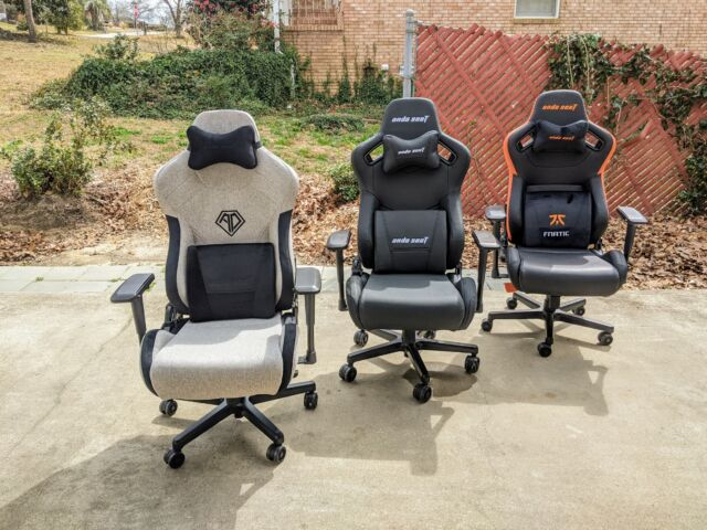 Left to right: Anda Seat's T-Pro 2, Kaiser 2, and Fnatic gaming chairs.