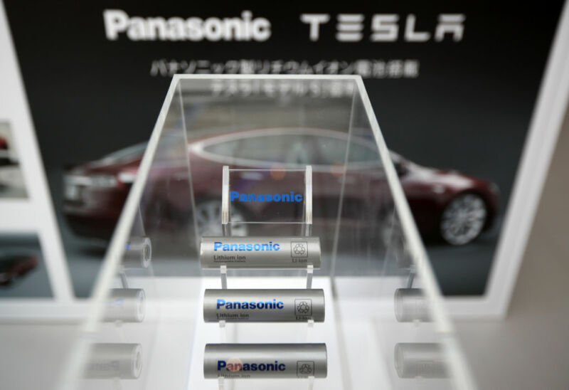 Panasonic Corp. lithium-ion batteries manufactured for Tesla Motors Inc. Model S electric vehicles are displayed at Panasonic Center Tokyo in Tokyo, Japan, on Tuesday, Nov. 19, 2013.
