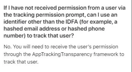 An excerpt from Apple's new rules on mobile tracking.