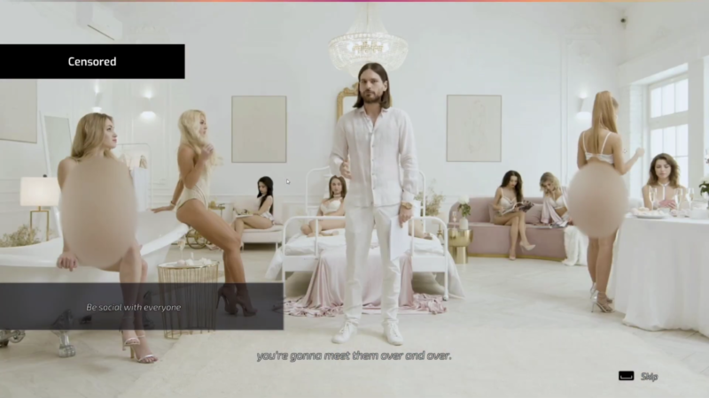 """An image from the censored version of <em>Super Seducer 3</em> suggests the kinds of """"sexually explicit images of real people"""" that are apparently not allowed on Steam."""