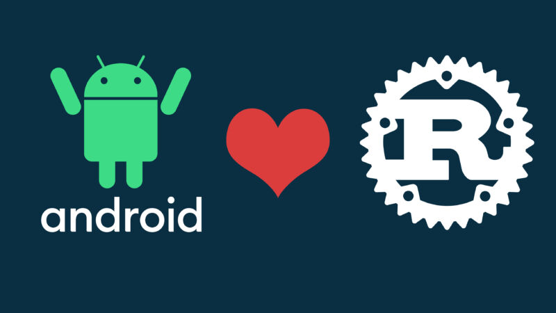 A heart separates an Android logo from a Rust logo.