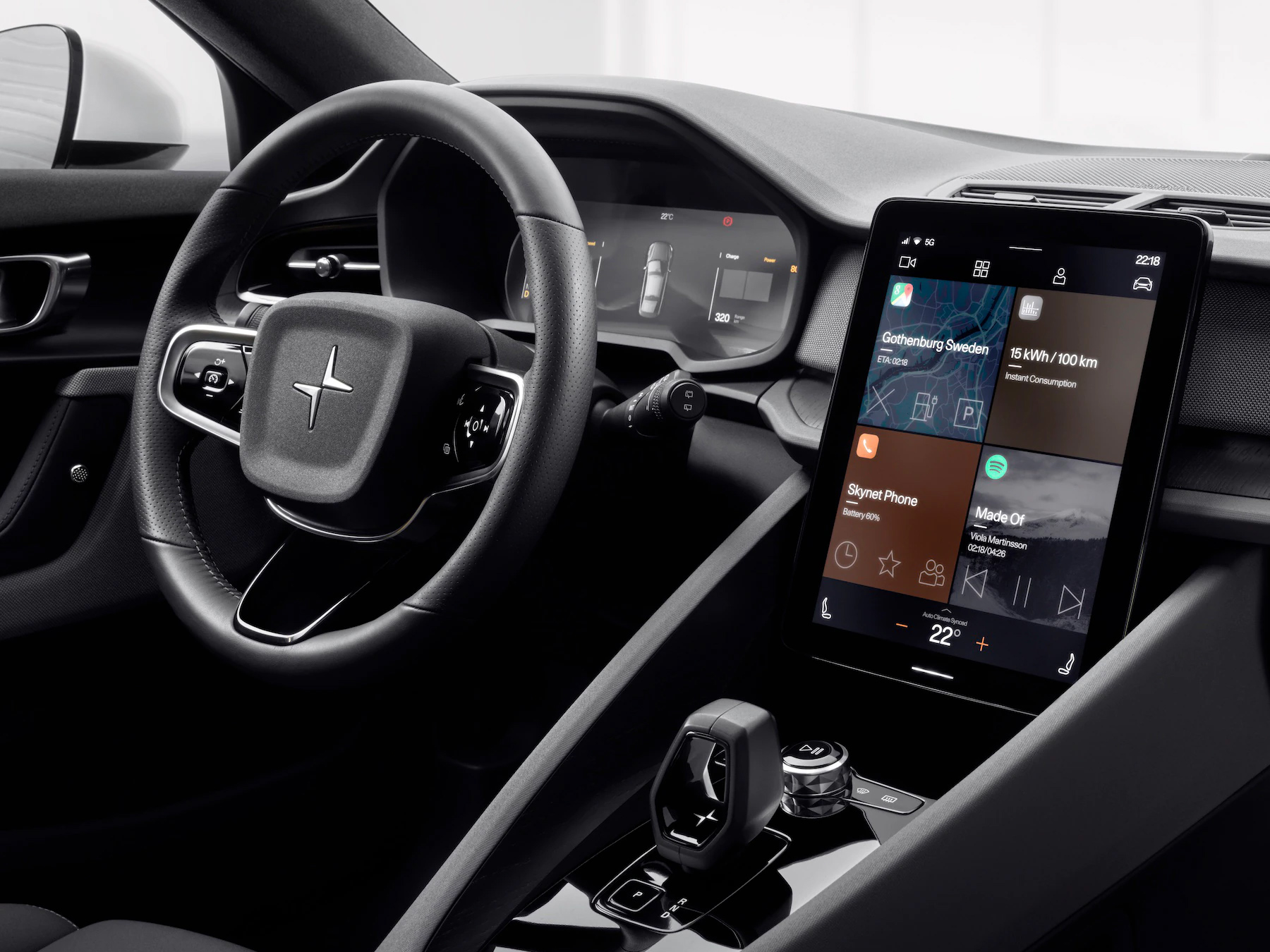 """The Polestar 2 interior asks """"What if we just glued an iPad to the dashboard?"""""""