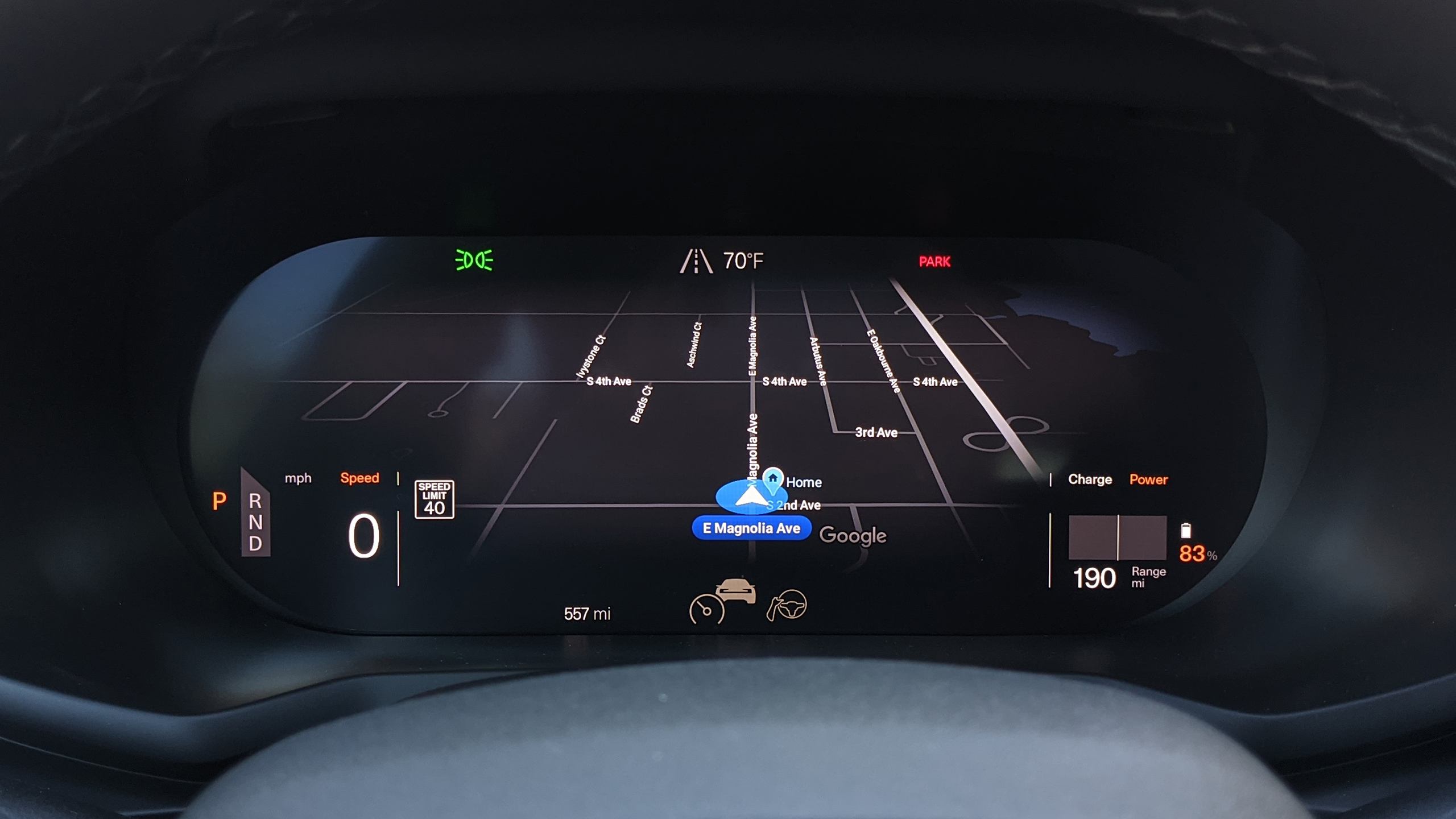 The driver's screen shows the current Google Maps navigation path and basically nothing else.