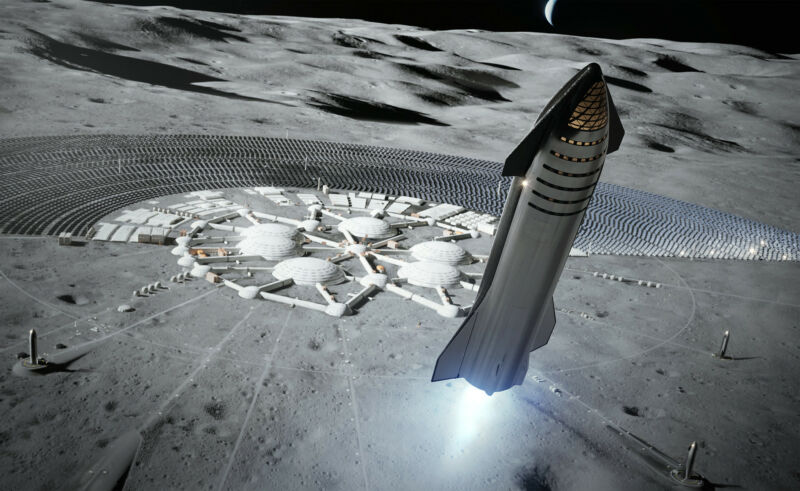 In the future, what might lunar exploration look like if NASA can send multiple Starships there each year? This SpaceX rendering offers a vision of one such future.