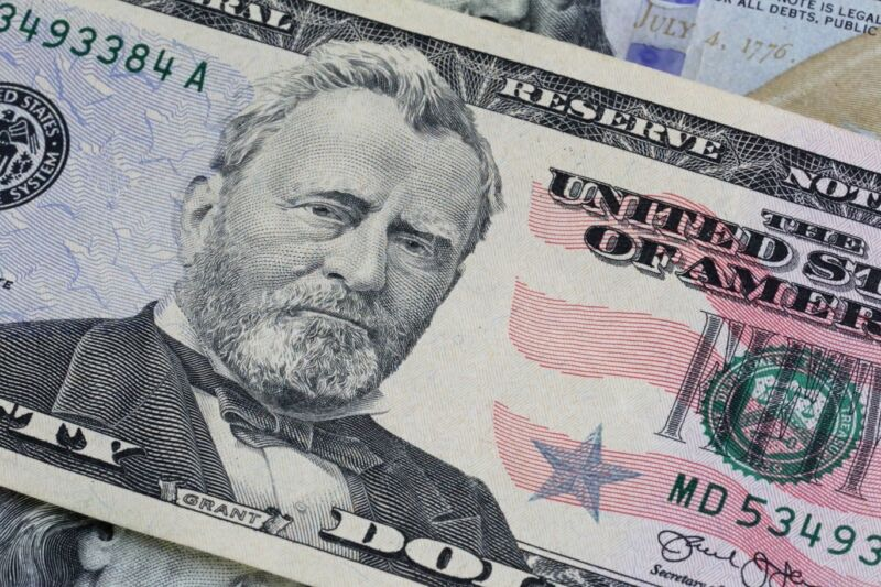 A $50 bill in US currency.