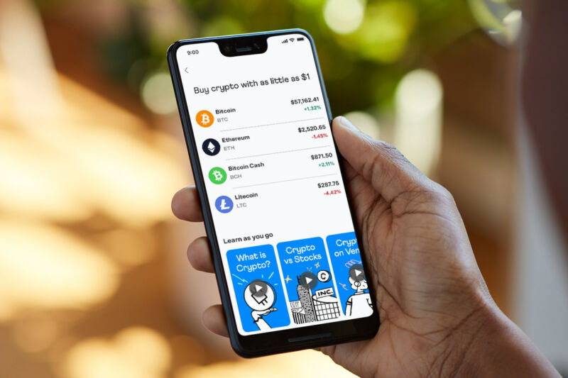 Venmo's smartphone app displaying cryptocurrency prices.