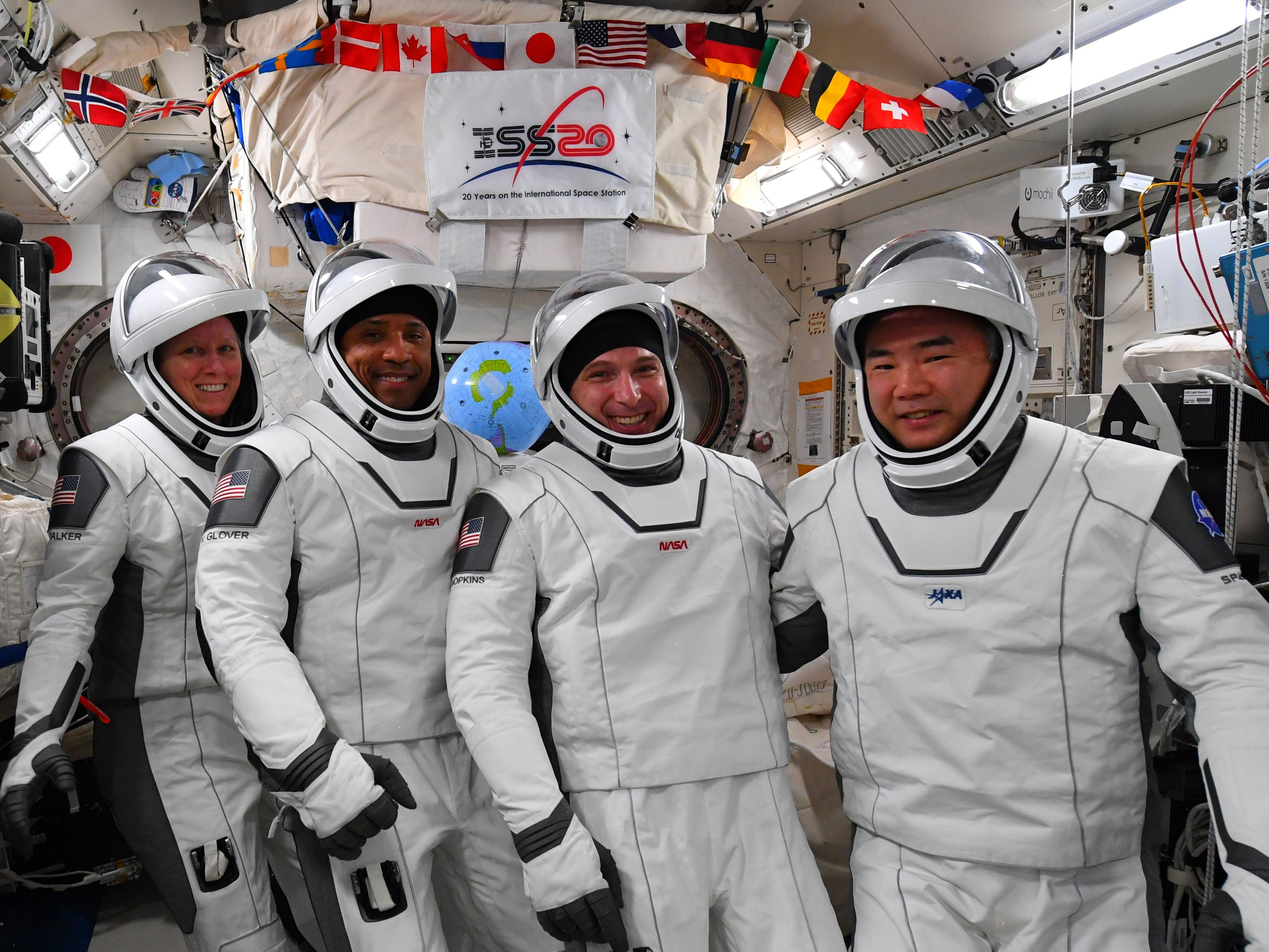 The Crew-1 astronauts, Shannon Walker, Vic Glover, Mike Hopkins, and Soichi Noguchi, don their spacesuits on Monday.