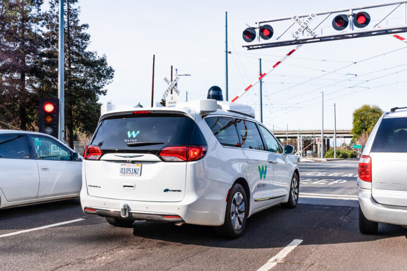 A Waymo self-driving car in Silicon Valley in 2019.