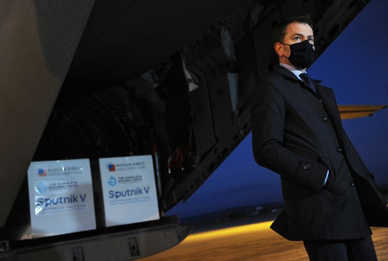 Former Slovak Prime Minister Igor Matovic wears a face mask as he gives a press statement at the International Airport in Kosice, Slovakia, on March 1, 2021, after an aircraft of the Slovak Army arrived from Moscow, carrying doses of the Sputnik V vaccine against Covid-19.