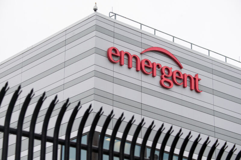 The Emergent BioSolutions plant, a manufacturing partner for Johnson & Johnson's Covid-19 vaccine, in Baltimore, Maryland, on April 9, 2021.