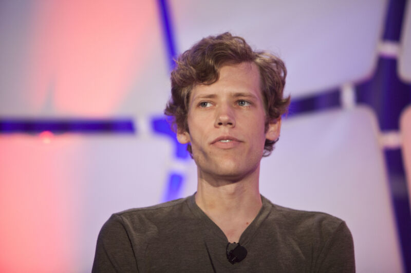 Christopher Poole, founder of 4chan, speaks during the TechCrunch Disrupt conference in New York on Tuesday, May 25, 2010.